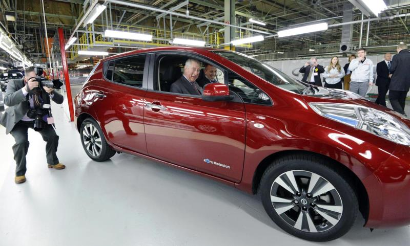 Prince Charles driving a Nissan Leaf