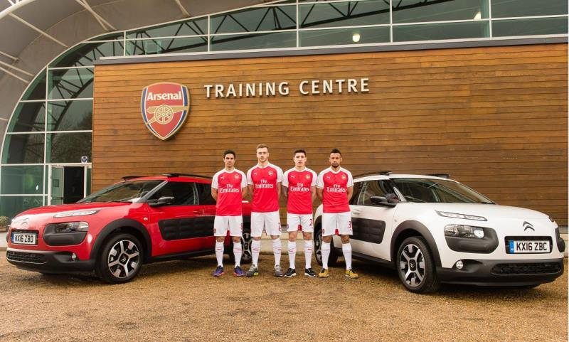 Arsenal stars Mikel Arteta, Héctor Bellerín, Calum Chambers and Francis Coquelin play Headis courtesy of Citroen Airbumps