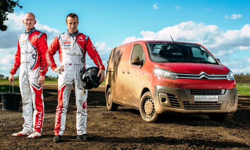 FIA World Rally Championship stars Kris Meeke and Paul Nagle in a Citroen Dispatch