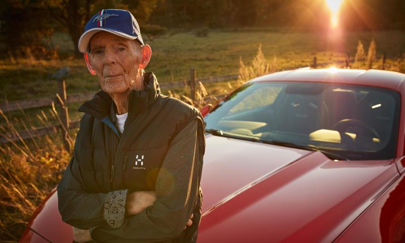 97-year old Lennart Ribring with his new 5.0-litre V8 Ford Mustang