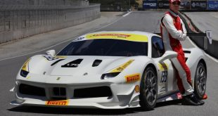 Actor Michael Fassbender Races with Ferrari.