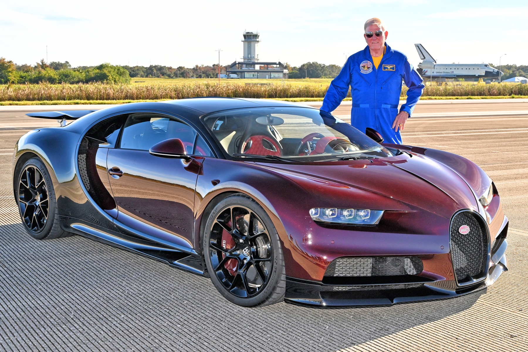 NASA astronaut Jon McBride with a Bugatti Chrion