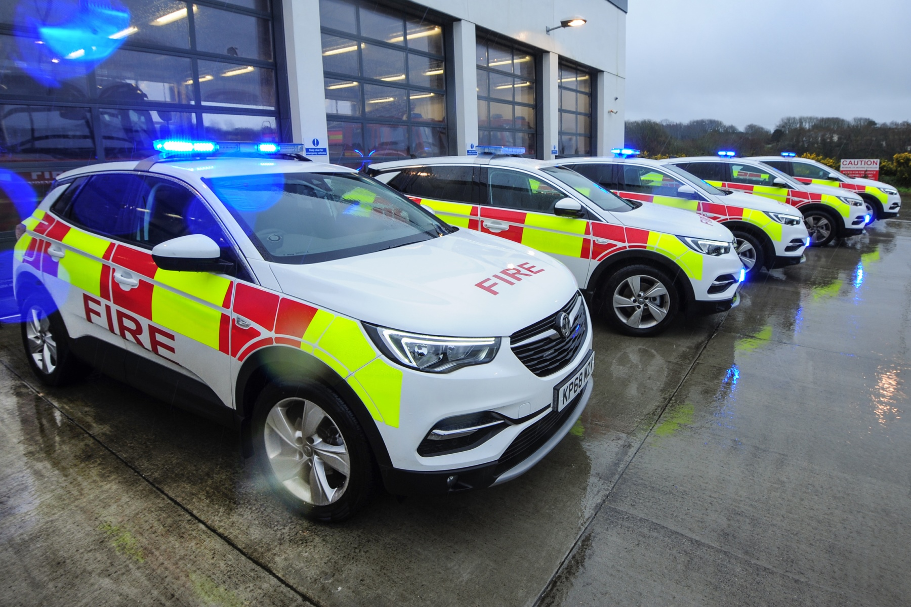 Cornwall Fire, Rescue and Community Safety's fleet of new Vauxhall Grand X vehicles