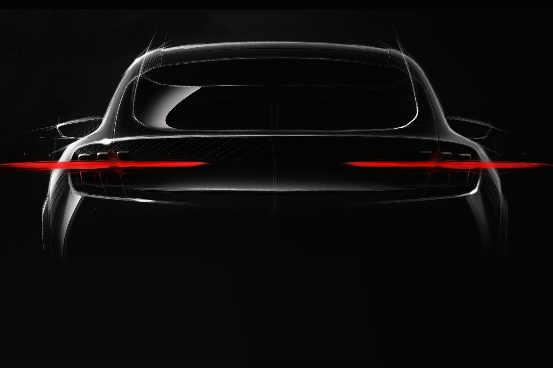 Teaser of Ford's all-new Mustang-inspired fully-electric performance SUV