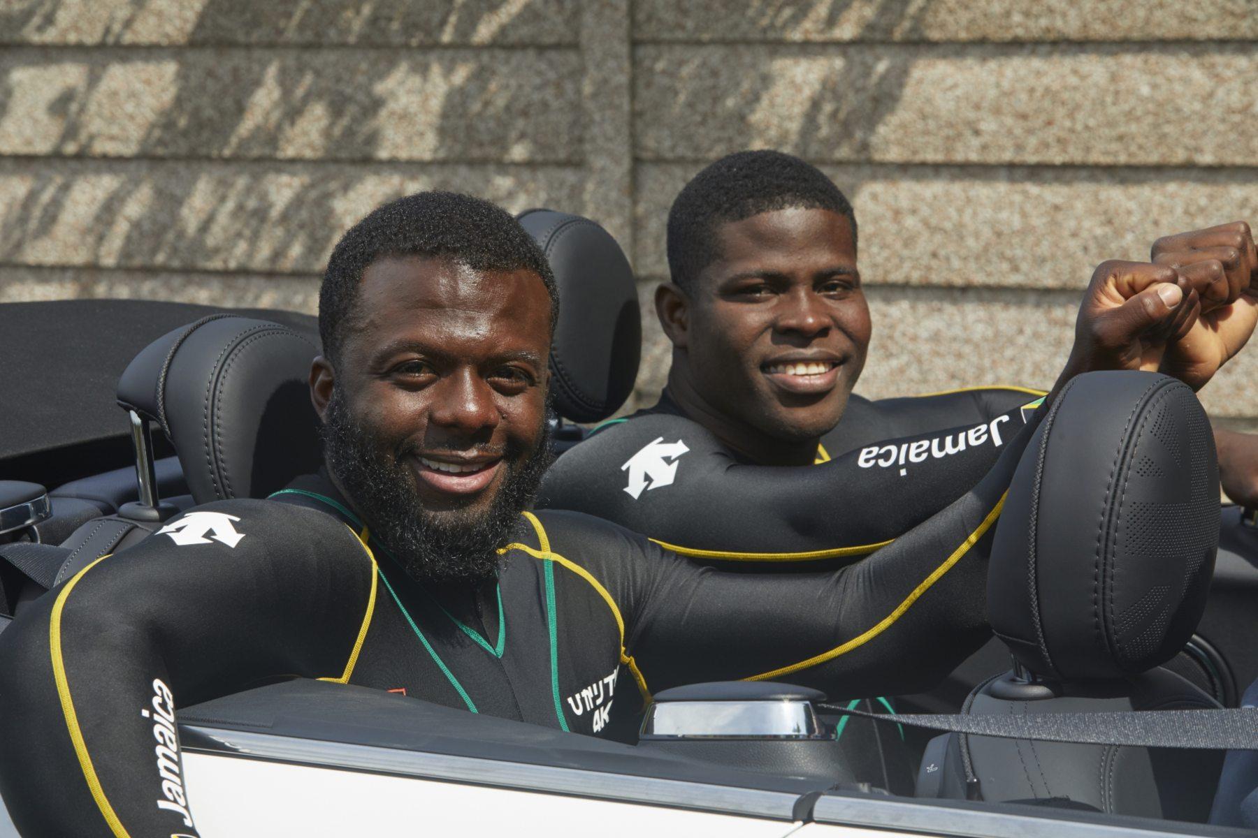 Shanwayne Stephens and Nimroy Turgott of the Jamaican bobsleigh team