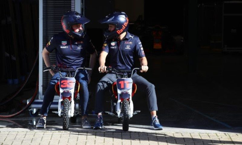 F1 stars Max Verstappen and Sergio Perez enjoy a day at the Red Bull Racing factory in Milton Keynes