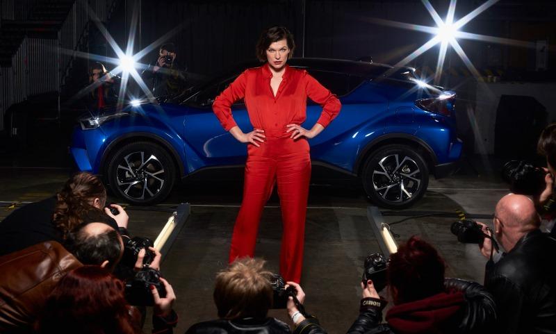 Milla Jovovich celebrates the new Toyota C-HR
