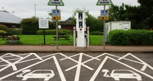 Electric car charging bays - motorway services