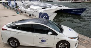 Energy Observer hydrogen boat and a Toyota Mirai